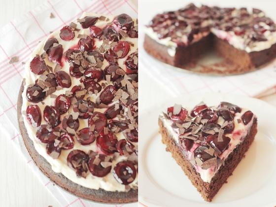 Шоколадов сладкиш с медена рикота и карамелизирани череши / Chocolate ricotta cream cake with caramelized cherries