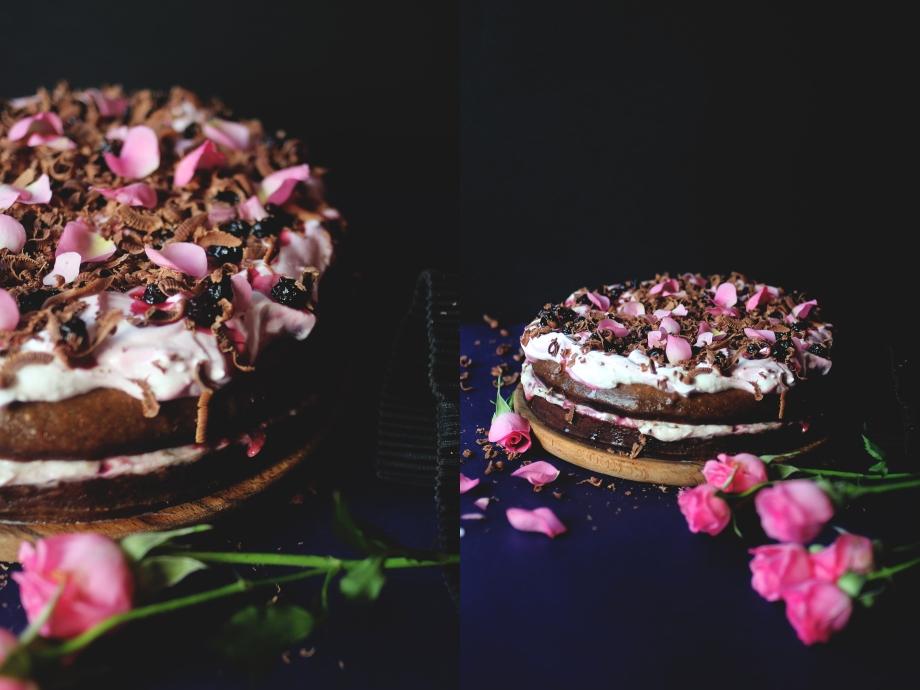 cocoa cake with rose cream